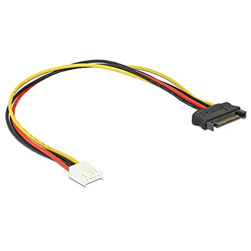Q39 Stromkabel Adapter SATA 15pin Stecker auf Floppy 4pin Strom Power Buchse, Plug und Play, SATA 15pin Stecker an 4-polige Floppystrombuchse, Kabellänge: ca. 18cm