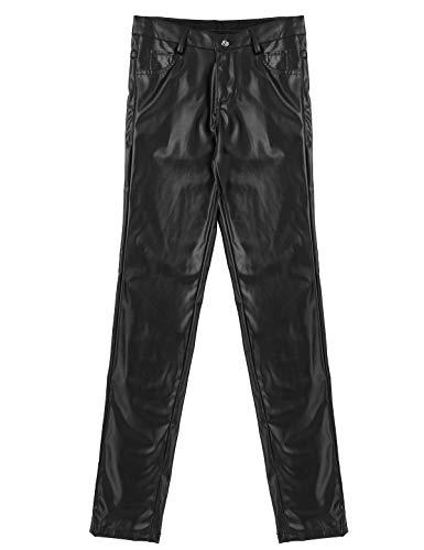Agoky Sexy Herren Lederhose Schwarz Wet Look PU Leder Leggings Lange Hose Pants Glänzend Clubwear Schwarz X-Large