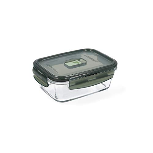 Luminarc Pure Box Active Recipiente hermético rectangular de vidrio, 82cl, color oliva