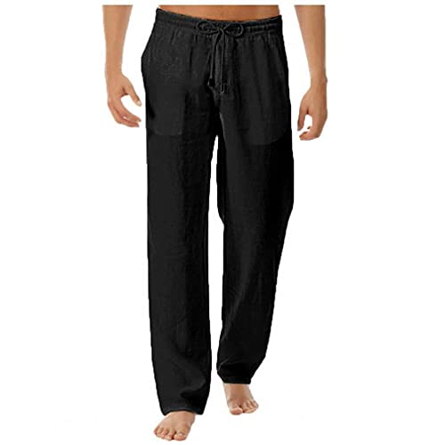 Tuimiyisou Heren trainingsbroek Jogging joggingbroeken met ritszakken Loose Fit Linen Pants