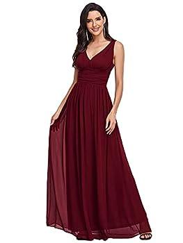 Ever-Pretty Womens Elegant Long Chiffon Maxi Prom Gown Party Dress 14 US Burgundy