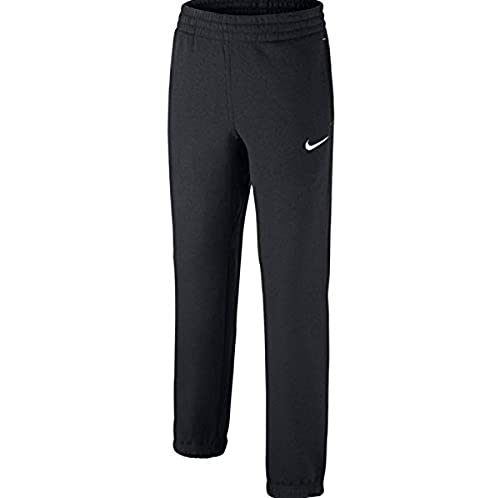 NIKE Brushed Fleece Cuffed Pantalones, Niños, Negro (Black/White/White), M