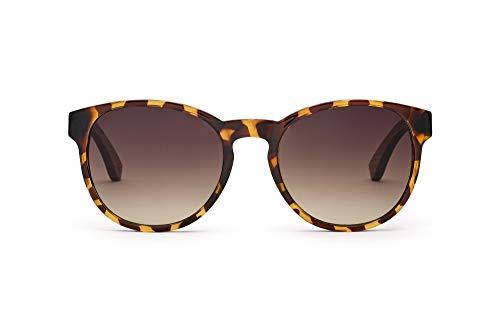 TAKE A SHOT - Große runde Holz-Sonnenbrille Damen, Holz-Bügeln und Kunststoff-Rahmen, UV400 Schutz, rückentspiegelte Gläser - Duchess
