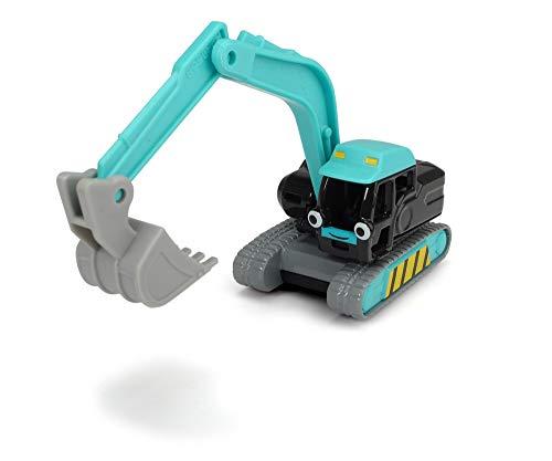 Dickie Toys 203131005 Bob der Baumeister Stretch Spielzeugauto mit Freilauf und beweglichen Teilen, 1:64, Türkis, 7 cm