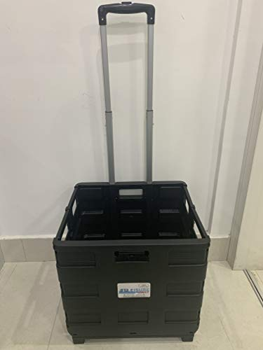 LEISURE DIRECT ® Wytrzymały bardzo duży składany składany składany wózek do bagażnika samochodu skrzynka wózek dla nauczycieli koledż książki składane 40 kg pojemność składane płaskie (czarny wózek)