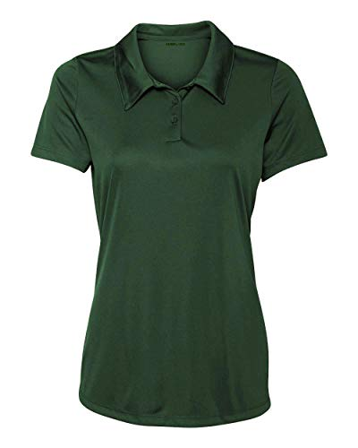 Women's Dry-Fit Golf Polo Shirts 3-Button Golf Polo's in 20 Colors XS-3XL Shirt Forest-L