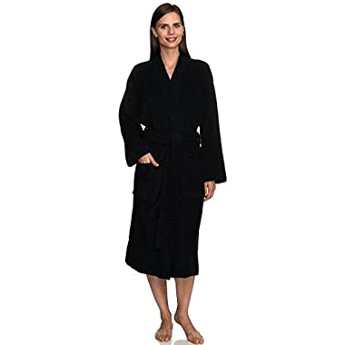 TowelSelections Women's Robe Turkish Cotton Terry Kimono Bathrobe Small/Medium Phantom Black