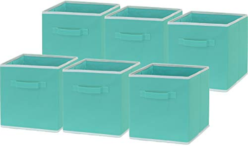 6 Pack - SimpleHouseware Foldable Cloth Storage Cube Basket Bins Organizer, Turquoise (11' H x 10.75' W x 10.75' D)