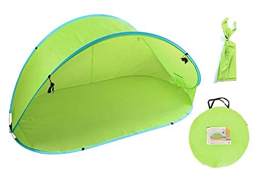 XXL Pop-up Wurfzelt Strandmuschel Strandzelt Sonnenschutz grün mit Heringen & Tragetasche 215 * 115 * 93cm für 3-4 Personen