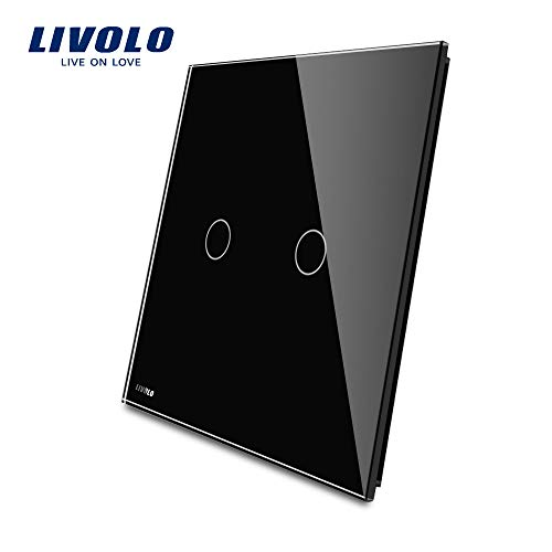 LIVOLO Light Switch 2 Gang With Black Tempered Glass Plate, Double Touch Light Switch,VL-C50101-12