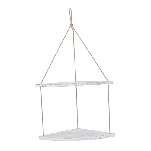FLAMEER Hanging Corner Shelf 1-3 Tier Jute Rope Wood Wall Floating Shelves Rustic Organizer Displays Storage Rack Home Decor for Living Room Bathroom Kitchen - White 2 Tier