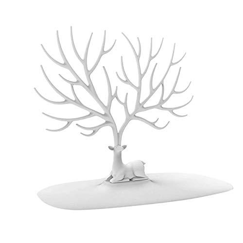 Juyuntong Jewelry Organizer Storage Tower Necklace Tree Bracelet Deer Design Display Stand/Bracelet Stand| Jewelry Tower| Earring Display for Desktop Accessories Storage/Bedroom/Bathroom (Blanco)