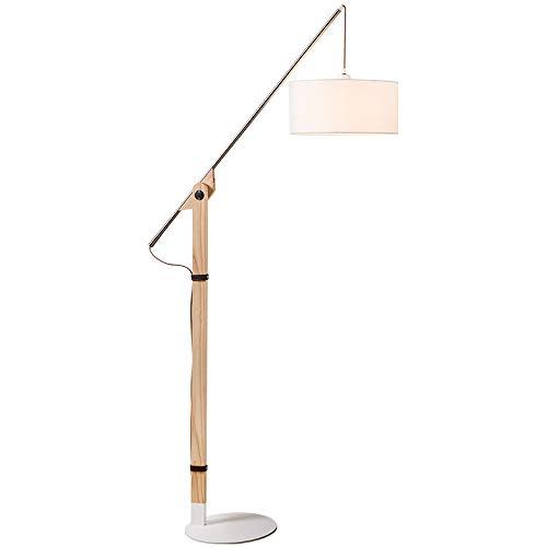 Lampadaire design de style nordique - abat-jour en tissu blanc, salon, canapé, chambre à coucher, lampe de table de chevet E27, design à joint réglable