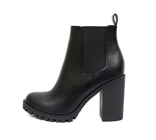 Soda Glove - Ankle Boot w/Lug Sole Elastic Gore and Chunky Heel (7, Black (PU))