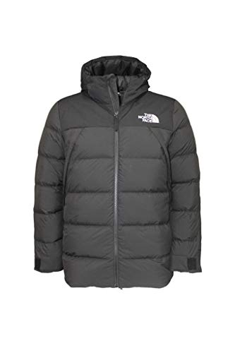 The North Face Men s UX Down Hooded Puffer Jacket RTO (Tnf Black white logo, XL)