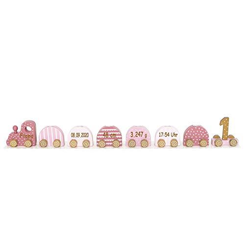 Elefantasie Geburtstagszug Kerzenhalter aus Holz mit Namen und Geburtsdaten graviert pink