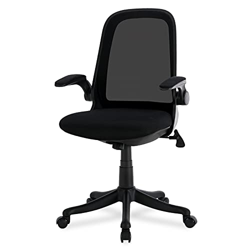 Komene Mid-Back Home Office Desk Chairs with Flip-up Armrest and Adjustable Height, Mesh Task Chair, Computer Chair, Black, Save Space