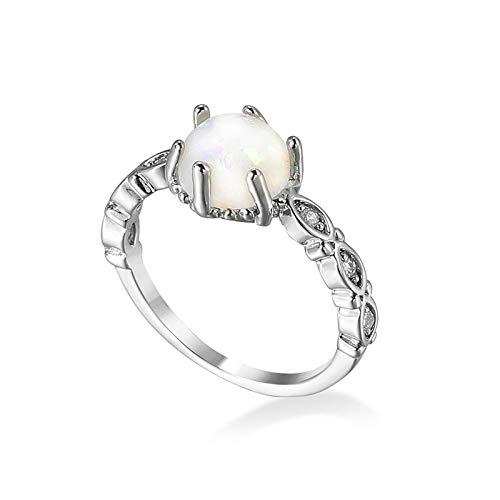 Gualiy Anillos de boda para mujer, chapados en plata, seis puntas con incrustaciones de diamantes de imitación, anillo de compromiso para mujer, Cubic Zirconia,