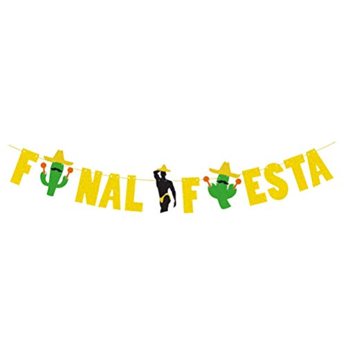 ABOOFAN Hawaiian Party Banners Fiesta Cactus Bunting Decoration Carnival Party Flag Glitter Garland Photo Props ( Gloden ) Party Supply