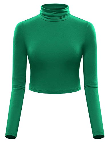 MSBASIC Mock Neck Top The Wicked Witch Turtleneck Crop Tops for Women Green S