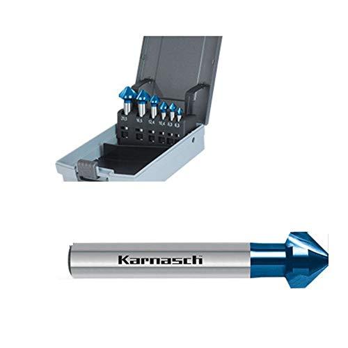Hauptversand24 6er Set Kegelsenker Senker 90°, VHM Blue-Tec beschichtet, zylindrischer Schaft, Werksnorm Typ H, Für Edelstahl, Hardox, gehärtete Stähle, 10,4-12,4-16,5-20,5-25,0-31,0 mm