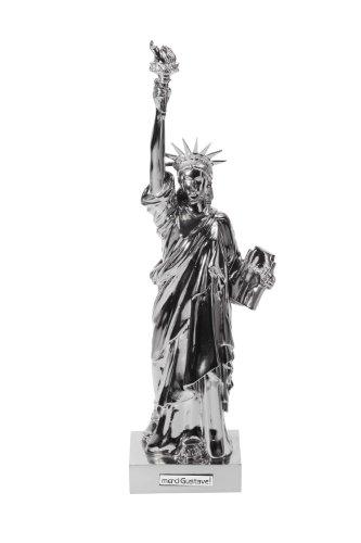 Merci Gustave LIBU0100 Statue de la liberté Miss Liberty 41.5cm glossilver, Résine, Silverbling, 10,2 x 10,2 x 41,5 cm