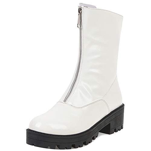 Mediffen Damen Block Absatz Mode Stiefel Warm Plateau Stiefel Weiß-HM Gr 36 Asiatisch