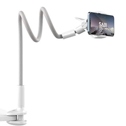 SAIJI 2021最新版スマホスタンド 寝ながらベット用スマホホルダー360転換可能 ハンズフリー アーム98CM 4.7-7インチに適用PUレーザーアーム アーム延長版 猫背改善 オンライン授業デスクワーク smartphone flexible arm holder, phone stand for bed, アイフォン, android , iPhone 12 mini pro, 11, 11 Pro Max, 11 Pro Max, XS Max XR X 8 7 7plus 6 6s 6plus , huawei p20 p30 lite, Sony Xperia, Nexus, Xiaomi に対応 安全性と耐久性の優れ 横置き縦置き球状回転デザイン (グレー)