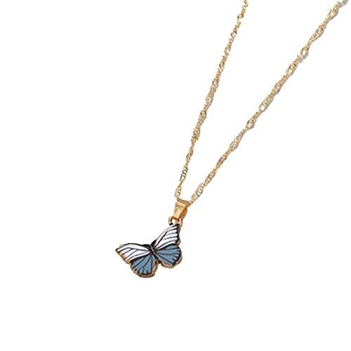 Kingwo Women Fashion Exquisite Necklace Aluminium Alloy Clavicle Chain Infinity Wood Butterfly Pendant,A Variety Of Colors Jewellery for Girls(F)