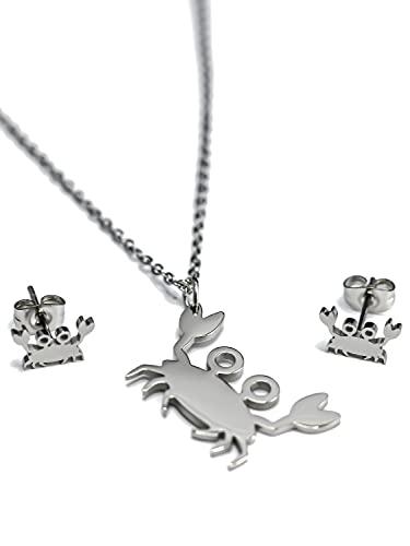 mandita Conjunto de joyas para mujer con collar y mosquetón, colgante de cangrejo y pendientes de acero inoxidable, para mujeres y niñas, edición Summer
