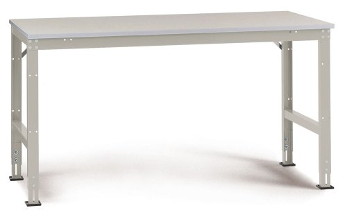Manuflex Arbeits-Grundtisch UNIVERSAL Standard mit Melaminplatte, BxTxH = 2000x800x760-870 mm