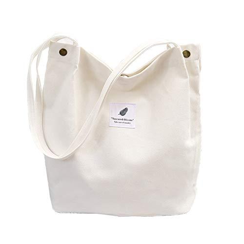 Canvas Tasche Damen Canvas Umhängetasche Shopper Casual Handtasche groß Chic Schulrucksack für Alltag Büro Schulausflug Einkauf, 38 x 32 x 11cm Weiß