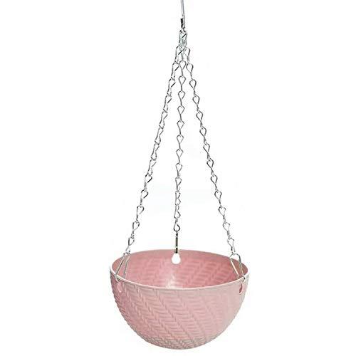 SNOWINSPRING 5Pcs Round Plastic Hanging Basket Flower Pot 16X10cm Garden Plant Chain Planter Decoration(Pink)