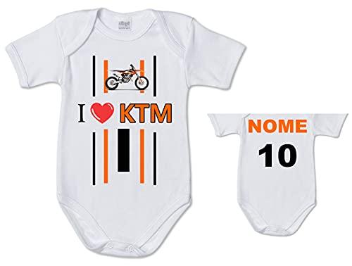 Stampa Body de bebé con foto de moto de KTM, personalizado, nombre y número de niño, idea de regalo para nacimiento de pequeños motoristas, Color blanco., 6 mes