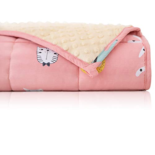 BUZIO Weighted Blanket 7 lbs for Kids, Ultra Cozy Minky Dotted and Cotton Sided with Cartoon Patterns, Heavy Blanket Great for Calming and Sleeping, 41x60 inches, Pink Cat