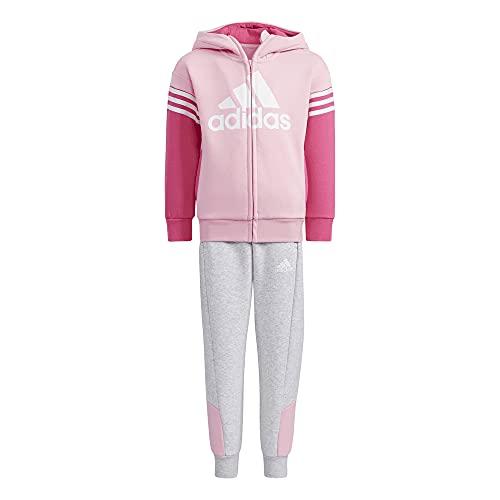 adidas LK BOS FL Set Tuta da Ginnastica, Light Pink/Light Grey Heather, 8-9A Unisex-Bambini