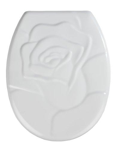 WENKO 20141100 WC-Sitz Rose - rostfreie Edelstahlbefestigung, Kunststoff - Duroplast, 37 x 45 cm, Weiß