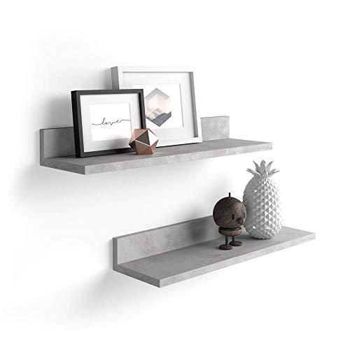 Mobili Fiver, Par de estantes, Modelo Rachele, de MDF, 60 cm, Color Cemento Gris, Aglomerado y Melamina, Made in Italy