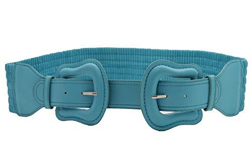 TFJ Women Wide Elastic Belt Hip Waist Double 2 Buckles Plus Size M L XL Teal Blue