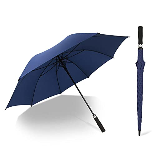 Parapluie de golf entièrement en fibre à long manche, large et épais, entièrement automatique, avec tige aérée et étanche, pour un usage domestique et pour homme, bleu,
