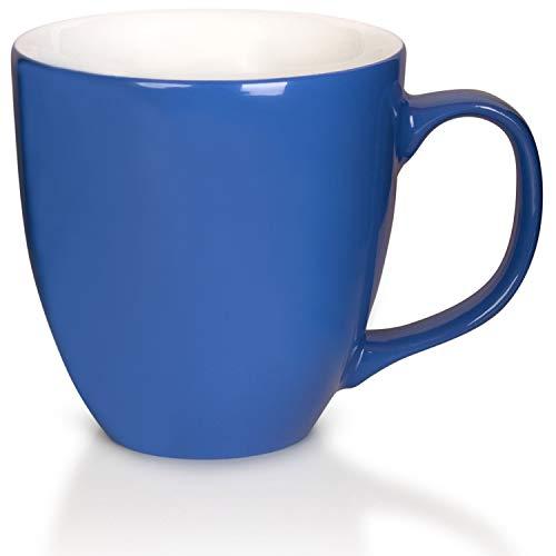 Mahlwerck XXL Jumbotasse, Große Porzellan-Kaffeetasse mit hoch-glänzender Oberfläche, in Blau, 450ml