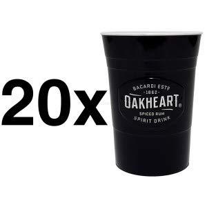 Bacardi Oakheart Rum Kunststoff Cocktail Longdrink Becher schwarz - 20er Set