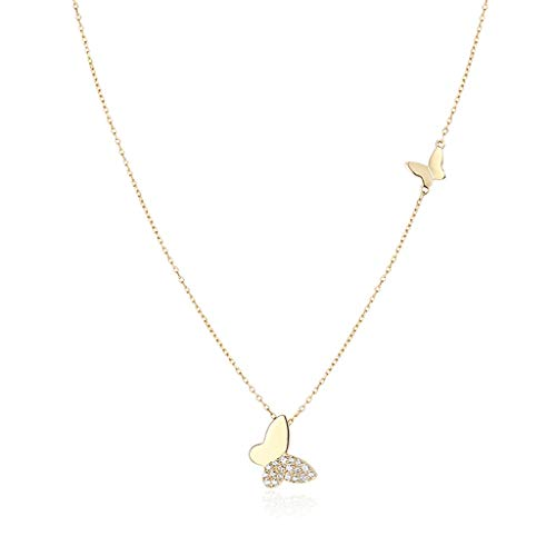 ZANZAN Collares de plata 925 con colgante de mariposa con diamantes de imitación y collar colgante para mujer gargantilla ajustable collares para mamá niñas 3 colores hombres/mujeres collares