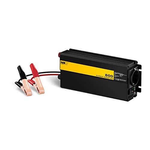 MSW Spannungswandler Wechselrichter Stromwandler MSW-CPI800MS (800 W, DC 12 V zu AC 230 V, modifizierte Sinuswelle inklusive Batterie-Clip-Kabel)
