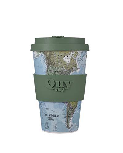 Quy Cup Tazza in Fibra di Bamboo 100% riciclabile 400 ml Mug Map mappamondo