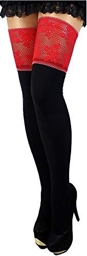 Unbekannt 100 den blickdichte halterlose Strümpfe warm schwarz mit sehr breiter Spitze und Silikon versch. Farben S-XL EU (M/L, schwarz/rot)
