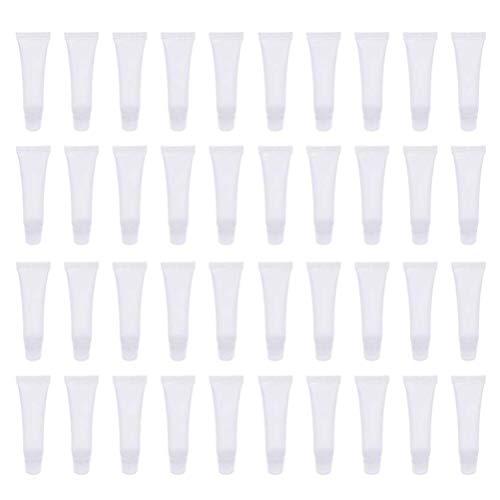 40 unidades de tubos transparentes vacíos brillo de labios contenedores rellenables DIY maquillaje contenedor caso para bálsamo labial 10 ml