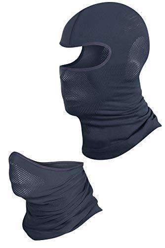 BRUBECK Pasamontañas para Hombres y Mujeres | tapón para la Cara | máscara para Motocicletas | Set - Gris Oscuro | Tamaño: S-M