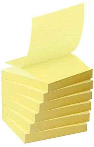 Post-it R3301B Haftnotiz Recycling Z-Notes Mini Tower, 76 x 76 mm, 100 Blatt, 6 Block, pastellgelb - in weiteren Farben verfügbar