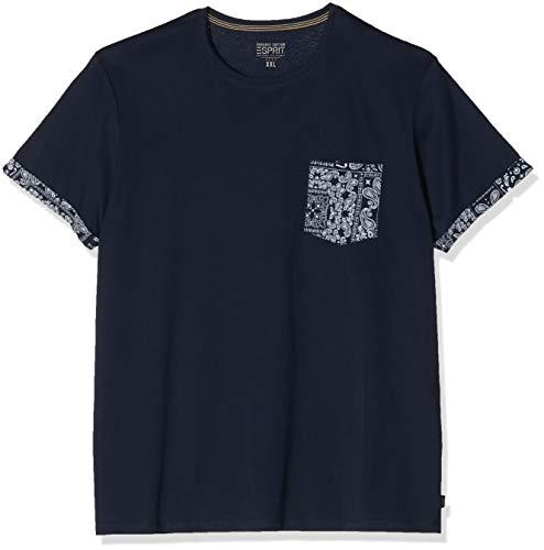 ESPRIT Herren 020EE2K326 T-Shirt, Blau (Blau 403), 5XL
